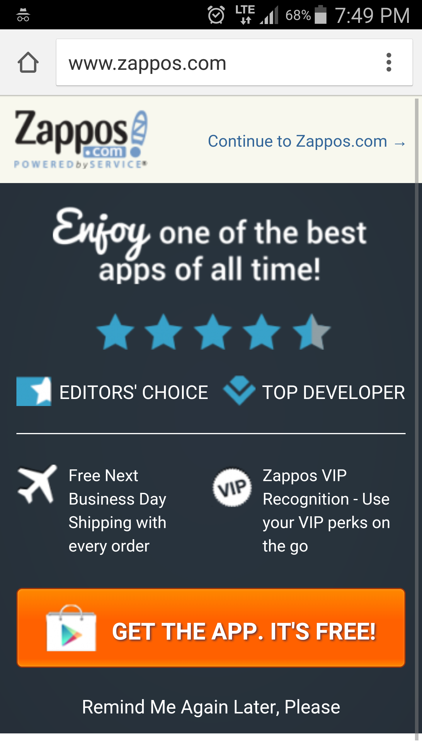 zappos popup promoting their mobile app