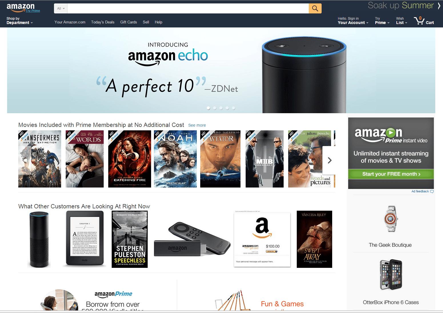 zappos desktop ecommerce site
