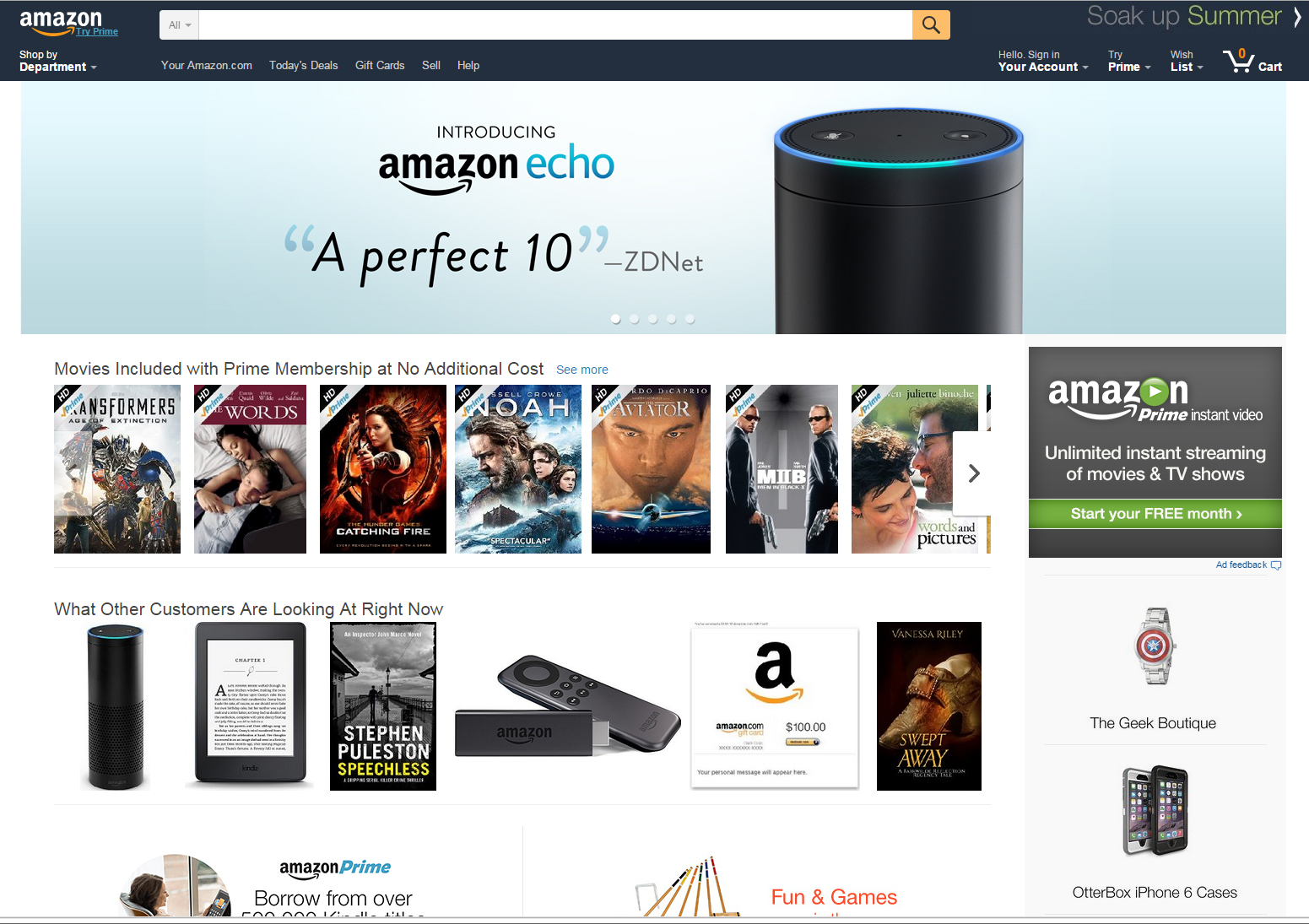 amazon homepage screencap