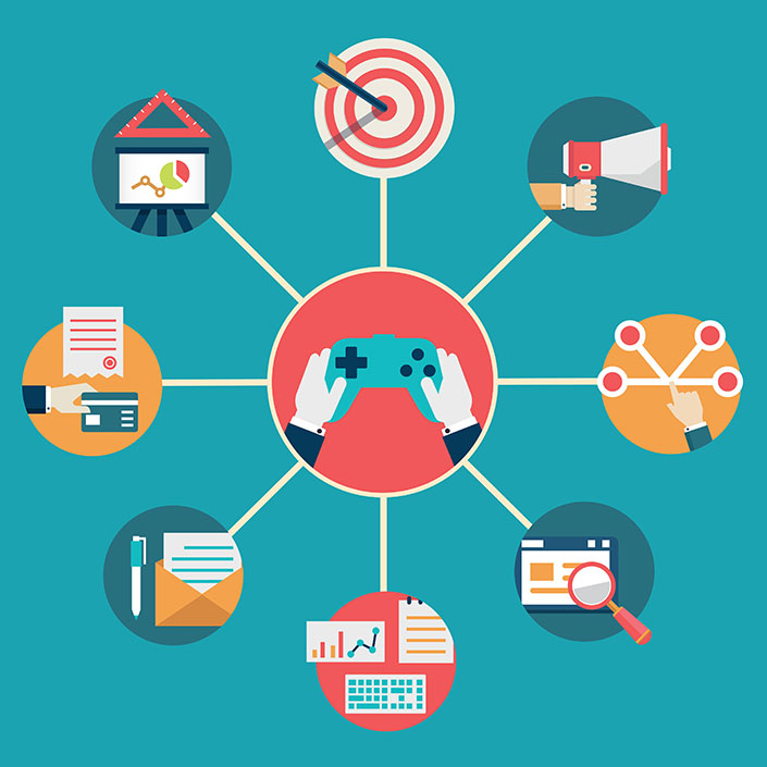 Vector flat concept of gamification in business. Management and commerce - vector illustration