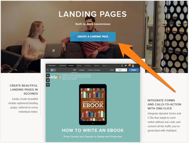 Landing page call to action button