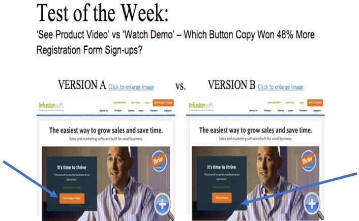 A/B testing CTA copy