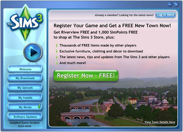 Sims 3 game page after