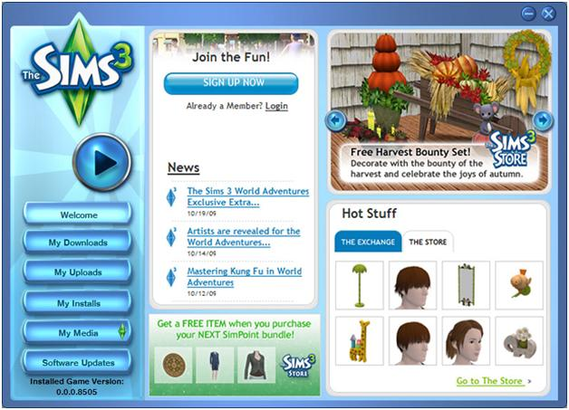 Sims 3 game page before