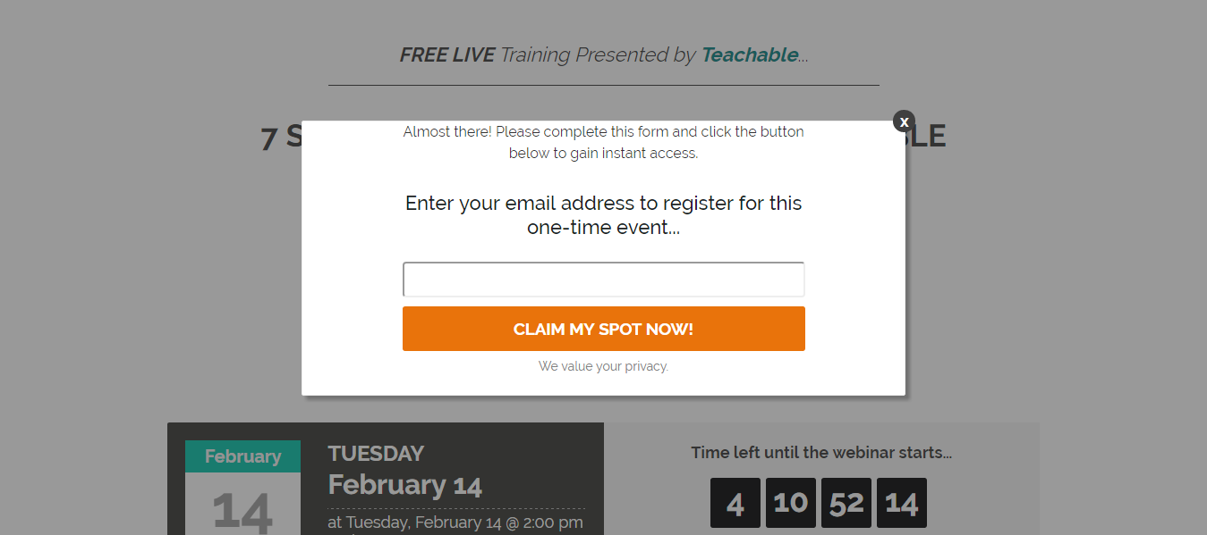 email signup landing page