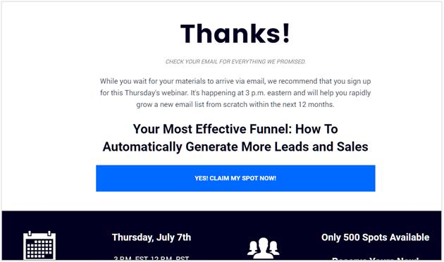 thank you landing pages